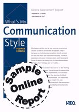 Picture of What's My Communication Style 4th Edition - Online Sample Report